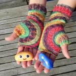 Bezprstové rukavice s kruhovým vzorom