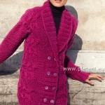 Fuchsijový dlouhý svetr