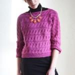 Růžový vzorovaný pulovr Merino 160