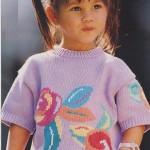 Dívčí šeříkový pulovr s květinou