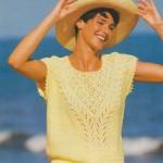 Letní pulovr se vzorovaným V-sedlem