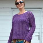Bavlnený pulóver s ažúrovým vzorom
