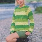 Žlutozelený krajkový pulovr