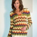 Pruhovaný vzorovaný pulovr Limone