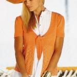 Oranžový svetřík s vázačkou
