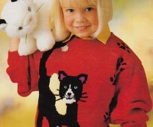 Červený pulovr s kočičkou