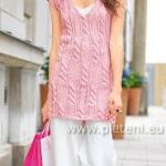 Letní růžová tunika s copánky