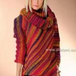 Pestrobarevný svetr s nákrčníkem