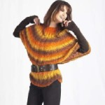 Pončo-svetr v podzimních barvách