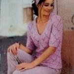Růžový pulovr s krátkými rukávy