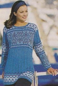 modrý pulovr s žakárovým vzorem