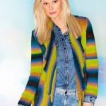 Barevný kabátek se šálovým límcem