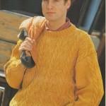 Pánský bavlněný pulovr v barvě kari