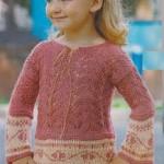 Ažurový pulovr s žakárovou bordurou