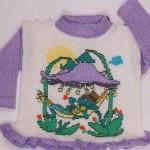 Fialový svetřík s obrázkem zvonků