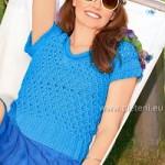 Modré dírkované tričko