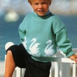 Dětský pulovr s labutěmi
