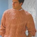 Pánský lososový vzorovaný pulovr