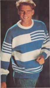 pánský modrobílý pulovr-f400