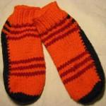 Pruhované ponožky na dvou jehlicích