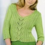 Zelený pulovr s listovým pruhem