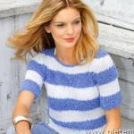 Modrobílé tričko Sandrin Cariba
