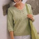Melírovaný pistáciový pulovr
