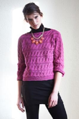 b2fa70ba46c1 Dámský pulovr s vodorovnými vzorovými pruhy. Návod na ručně pletený dámský  pulovr pro velikosti 36 38