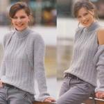Světle šedý módní twinset