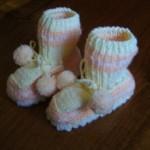 Pletené papučky 2 – růžovobílé