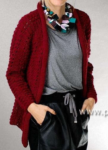 ff9495d7b9ae Návod na ručně pletený dámský kabátek pro velikosti 34 36