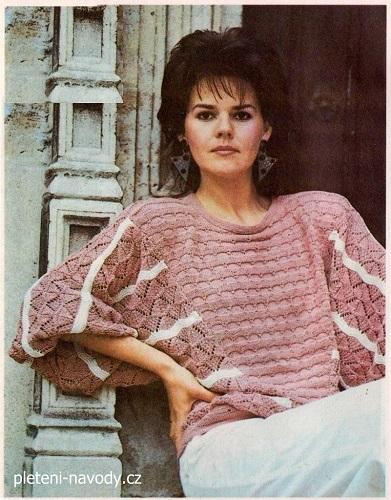 40d4f375eaf0 Návod na ručně pletený pulovr pro dámské velikosti 38 a 42. Model je pletený  bavlněnou přízí. Hana na jehlicích č. 3