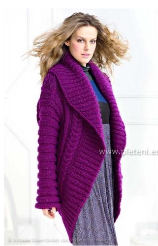 07d0b2a7cf8d Návod na ručně pletený dámský kardigan pro velikost 38 40. Model je pletený  přízí. Luana (zn. Austermann) na jehlicích č. 10. Vysvětlivky ke značkám
