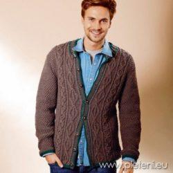 Pánský kabátek Landhauswolle. Pánský vzorovaný zapínací svetr 9d1db86d93