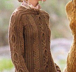 Hnědý copánkový pulovr